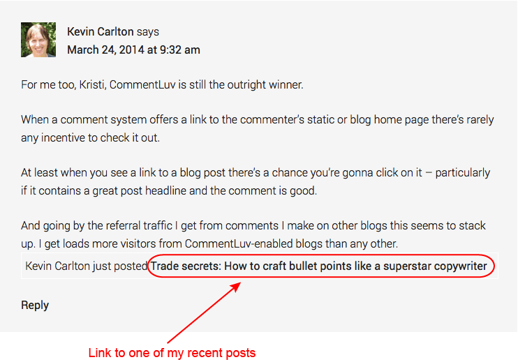 7c280804439 Example showing blog post headline as anchor text in comment link