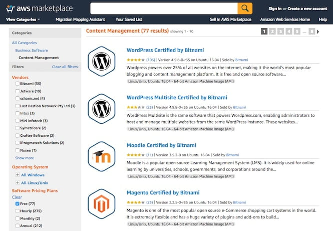 Screenshot from the AWS Marketplace