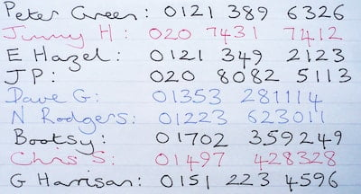 List of Handwritten Numbers