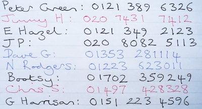 List of Handwritten Numbers