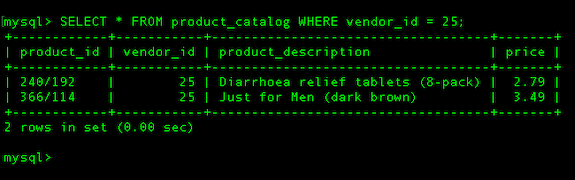 All Products in a Database Table with Vendor ID = 25