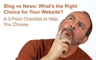Website owner deciding whether to have a blog or an online news feed