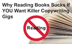 Warning sign telling copywriters not to read books